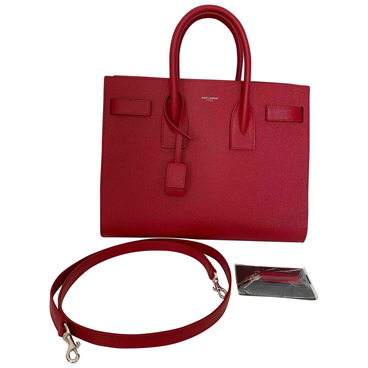 Saint Laurent Sac de Jour Handtasche in  Rot Leder