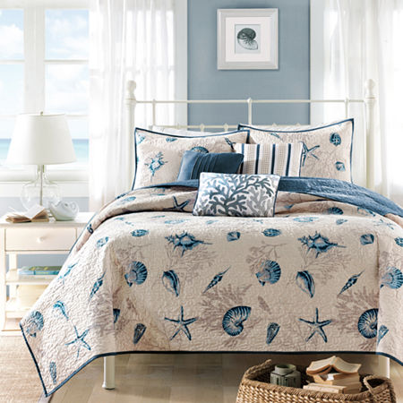 Madison Park Nantucket Coastal Quilted Coverlet Set, One Size , Blue