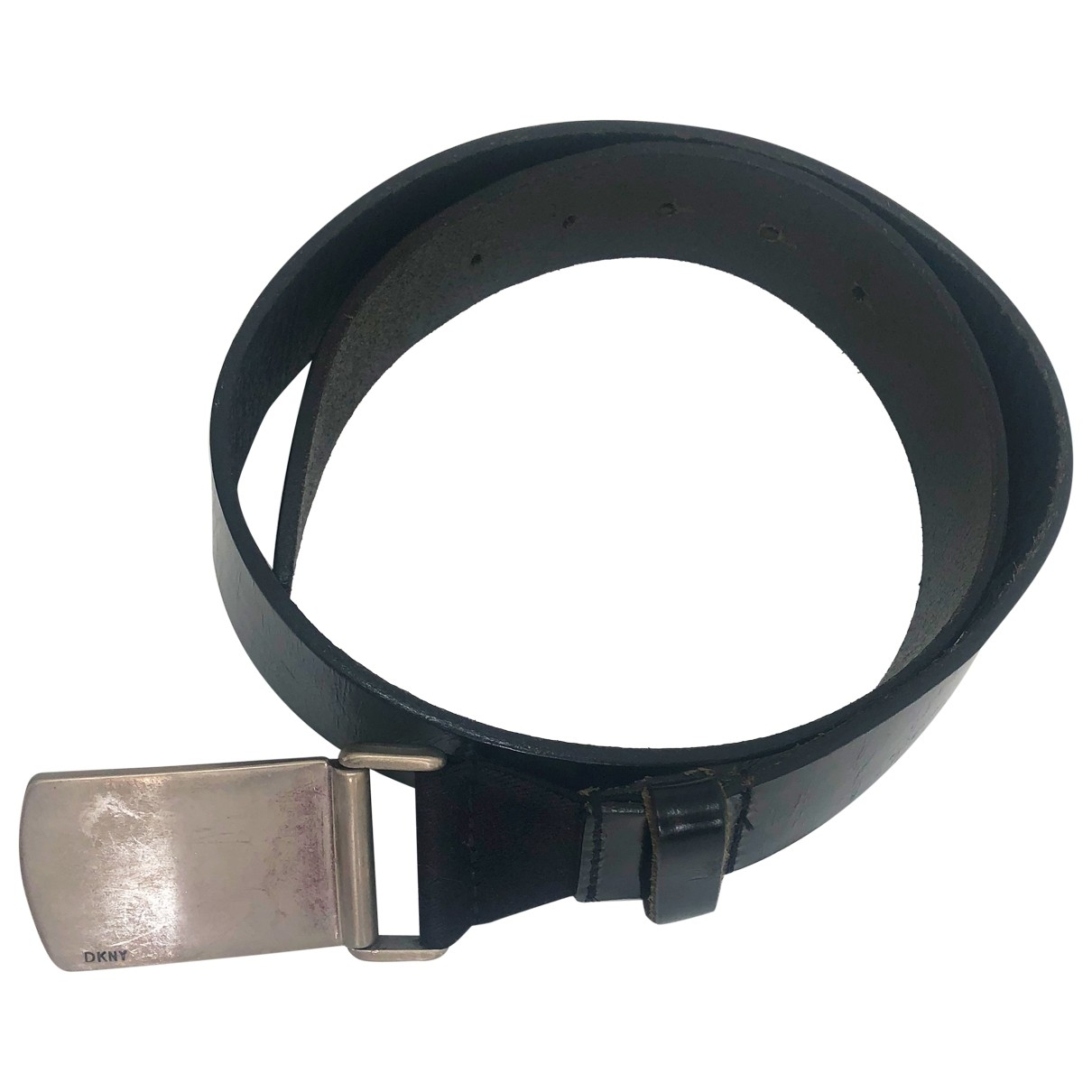 Dkny \N Black Leather belt for Men 80 cm