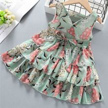 Toddler Girls Floral Print Tie Front Layered Dress