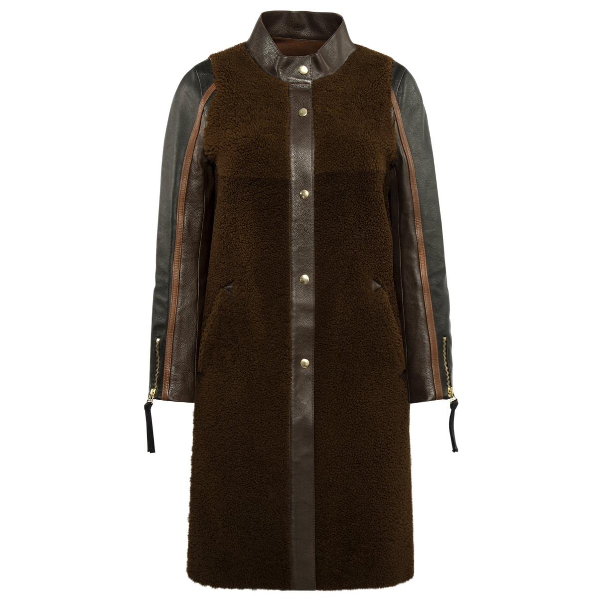 Marni - Manteau   pour femme en cuir - marron