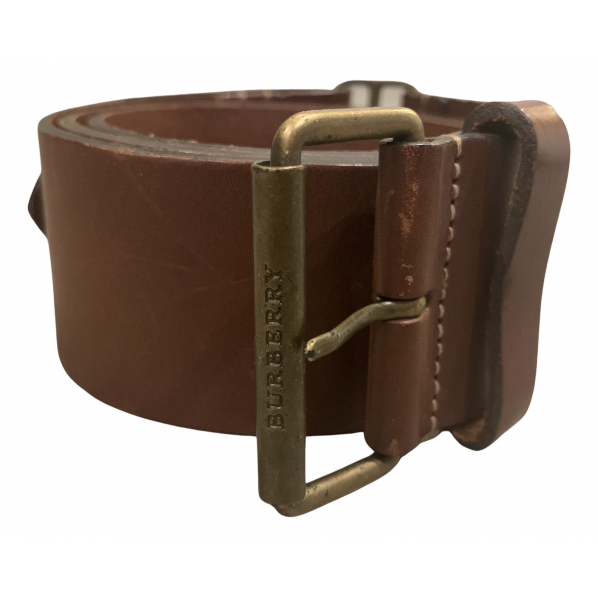 Burberry N Brown Leather belt for Women 80 cm