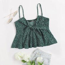 Tie Front Shirred Back Allover Plant Peplum Cami Top