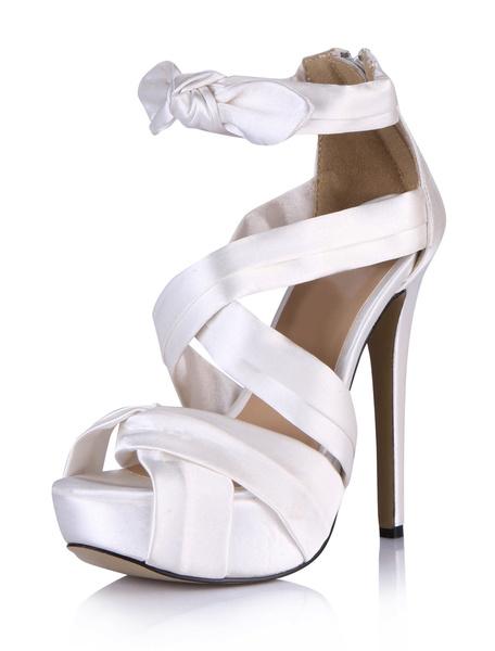 Milanoo Platform High Heel Sandals Womens White Imitated Silk Criss Cross Peep Toe Stiletto Heels Sandals