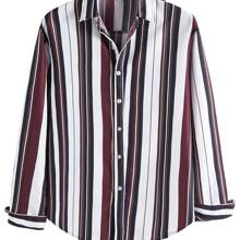 Men Vertical Striped Button Up Shirt