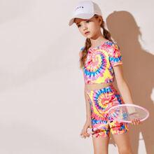 Girls Spiral Tie Dye Tee & Biker Shorts Set