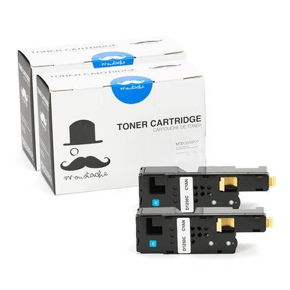 Compatible Dell 331-0777 FYFKF cartouche de toner cyan haute capacite - Moustache@ - 2/paquet