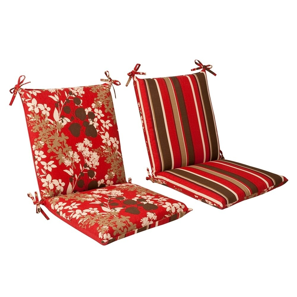 Pillow Perfect Outdoor Red/ Brown Reversible Square Chair Cushion (353654)