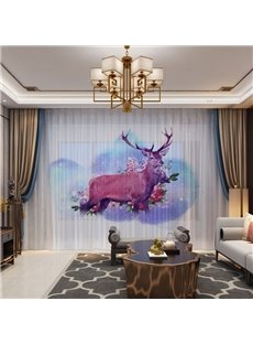3D Vivid Elk and Colorful Floral Printed Custom Chiffon 2 Panels Custom Sheer