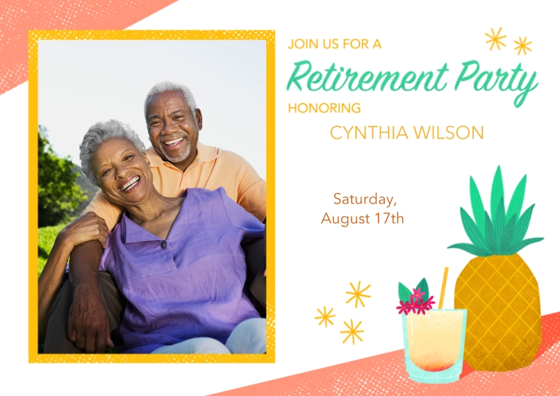 Retirement Cards 5x7 Cards, Premium Cardstock 120lb with Rounded Corners, Card & Stationery -TikiRetirementPhotoInvitation
