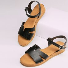 Cut Out Band Open Toe Ankle Strap Flatform Sandals