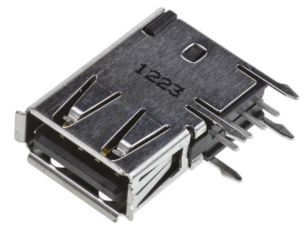 TE Connectivity USB Connector, Through Hole, Socket 2.0 A, Solder, Right Angle- Single Port (5)
