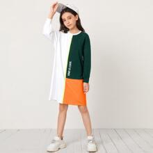 Girls Slogan Graphic Drop Shoulder Colorblock Dress