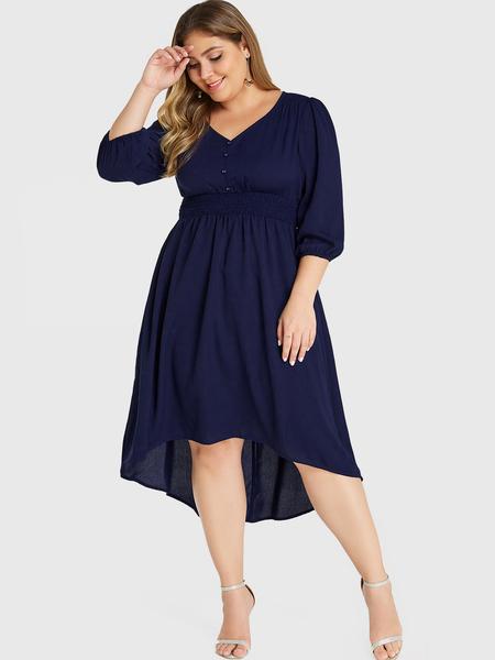 YOINS Plus Size Navy Button Design Elastic Waisted Shirred Dress