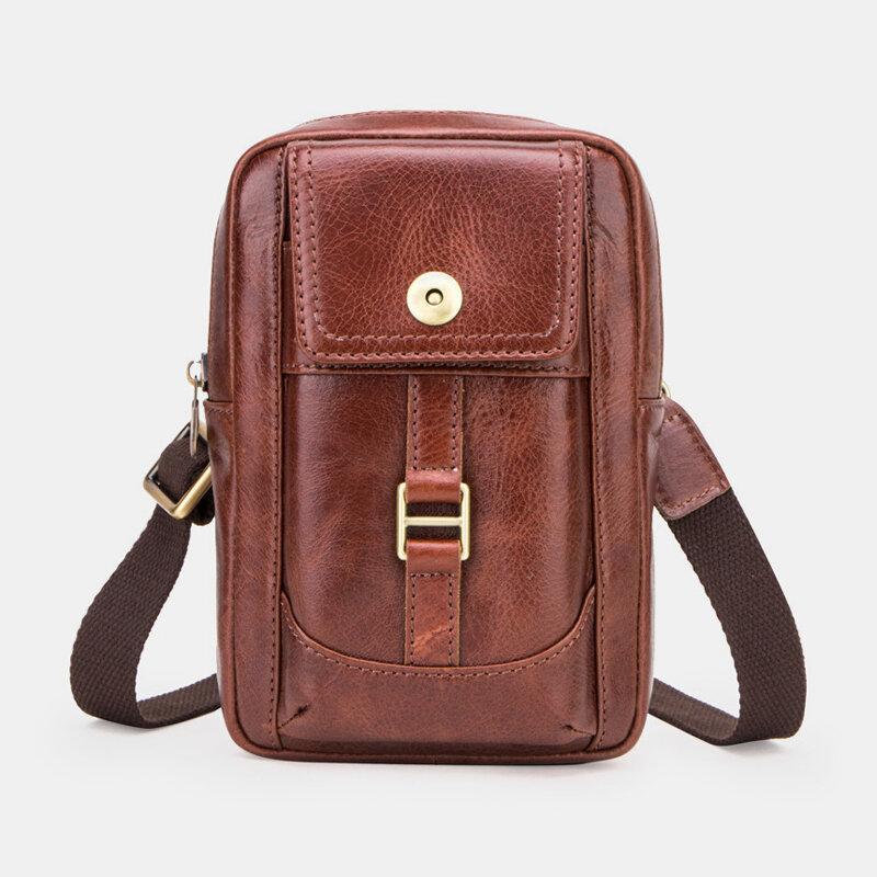 Men Genuine Leather Multi-pocket 5 Card Slots Multi-carry Crossbody Bag Waist Sling Bag