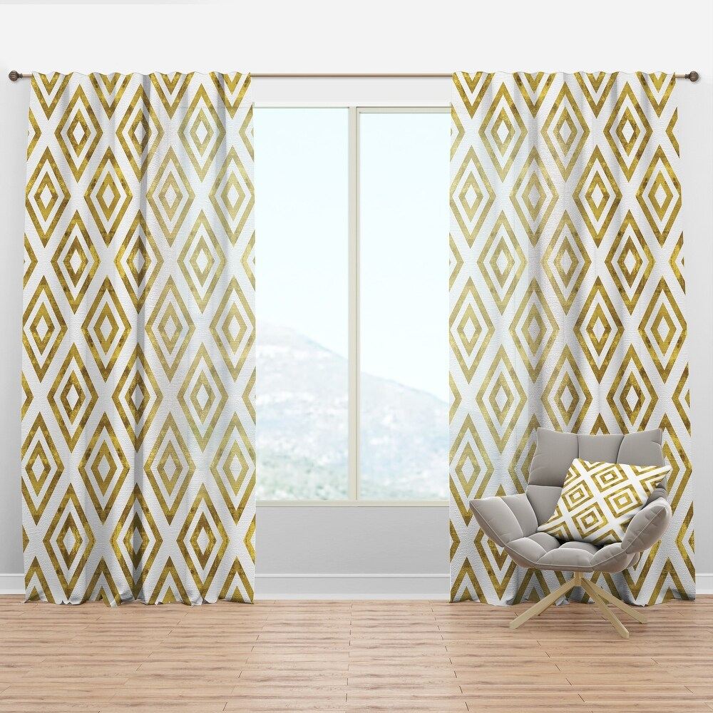 Designart 'White and Gold Pattern' Modern & Contemporary Curtain Panel (50 in. wide x 90 in. high - 1 Panel)