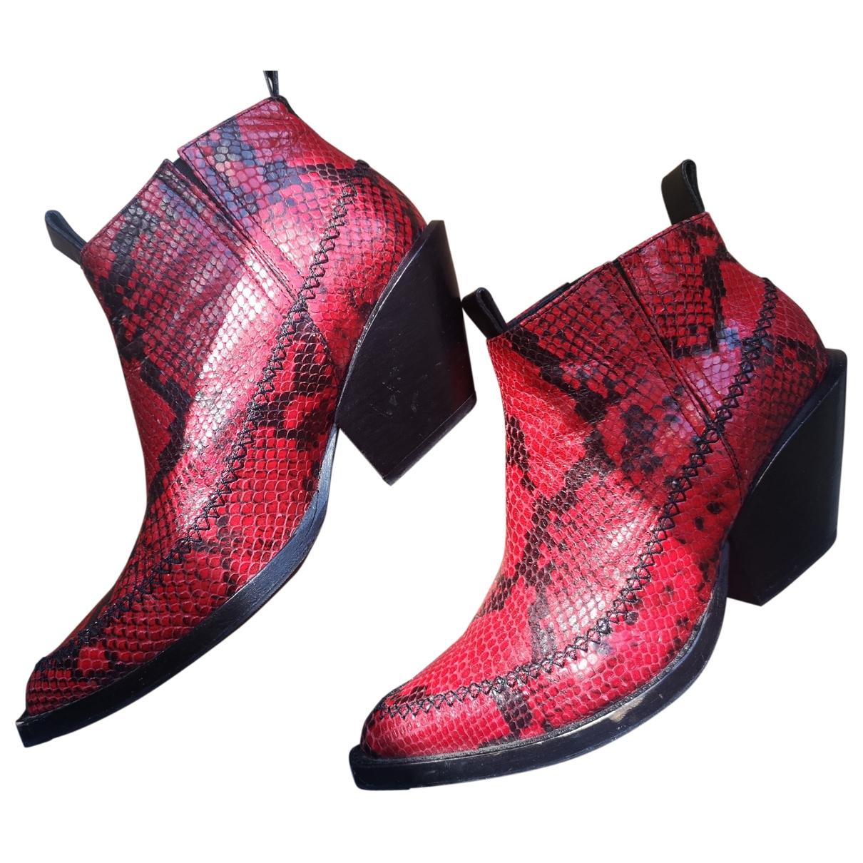 H&m Studio - Boots   pour femme en python - rouge