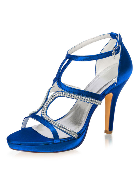 Milanoo Evening Shoes Sandals Satin Women Party Shoes With Rhinestones