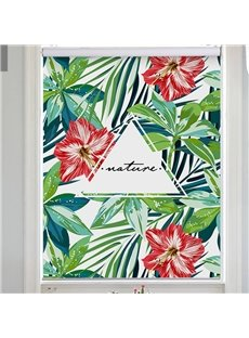 Modern Decor Green Palm Leaves and Red Flowers Printed Flat-Shaped Roman Shades