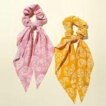 2pcs Girls Paisley Pattern Scrunchie Scarf