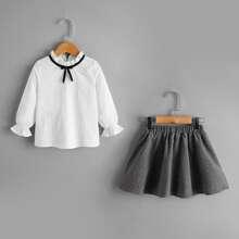 Toddler Girls Frill Neck Bow Detail Blouse With Polka Dot Flared Skirt