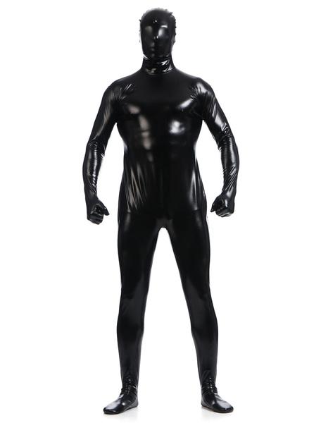 Milanoo Black Zentai Suit Adults Full Body Shiny Metallic Bodysuit for Men