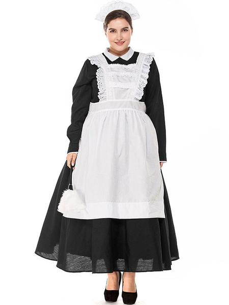 Milanoo Halloween Costumes Woman\'s Maid Lace Headwear Apron Cotton Halloween Holidays Costumes