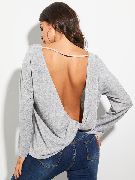 YOINS Grey Backless Design Round Neck Long Sleeves Tee