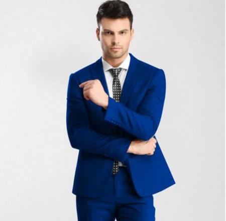 Mens Blue 1 Button Single Peak Slim Fit Suit with Flat Front Pant