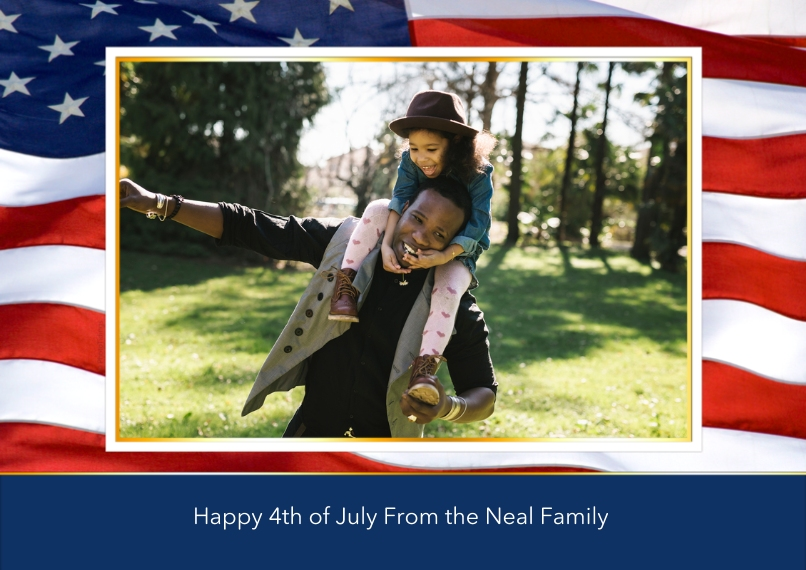 4th of July Photo Cards 5x7 Cards, Standard Cardstock 85lb, Card & Stationery -American Flag
