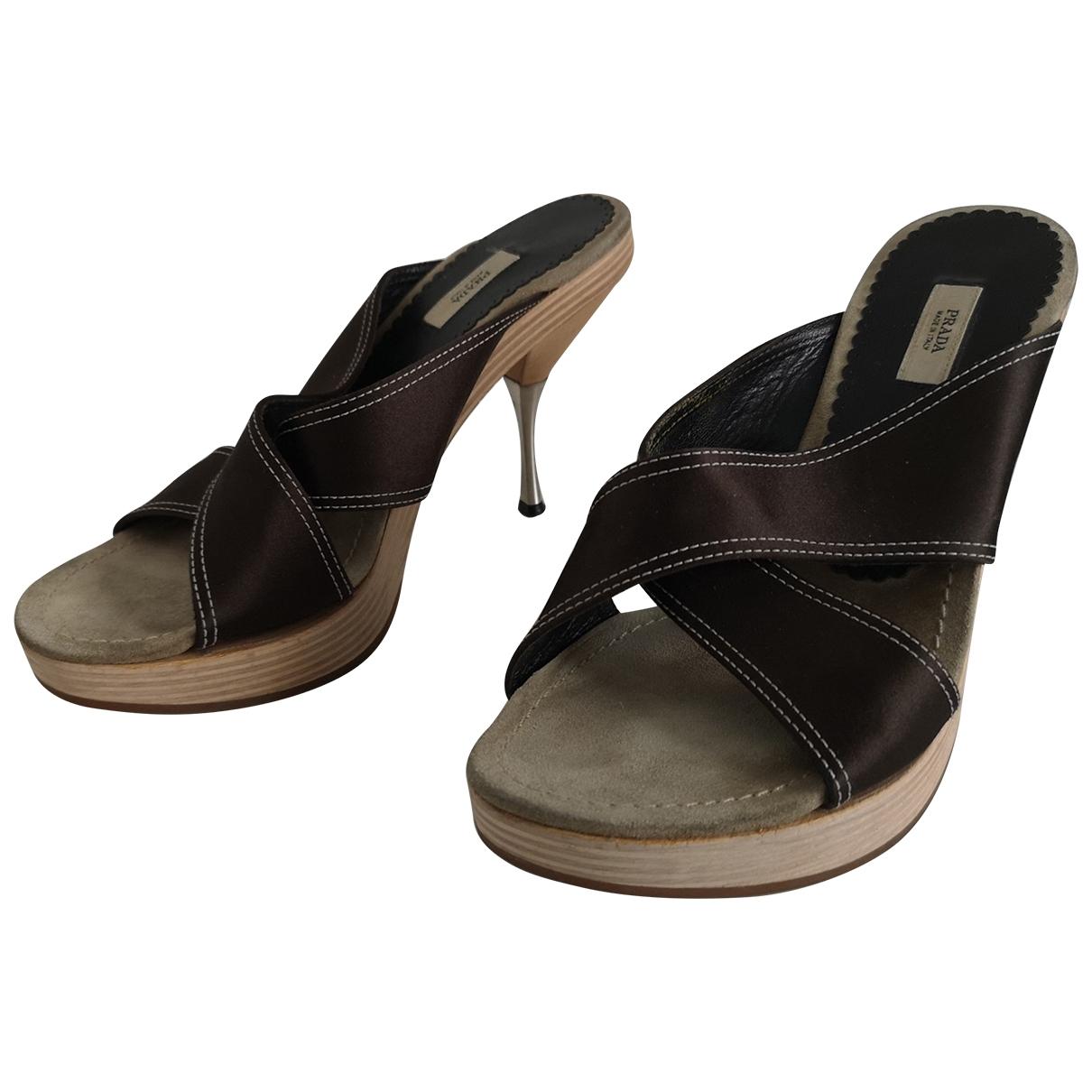Prada \N Brown Cloth Sandals for Women 37 EU