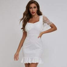 Tie Back Flower Embroidered Mesh Sleeve Dress