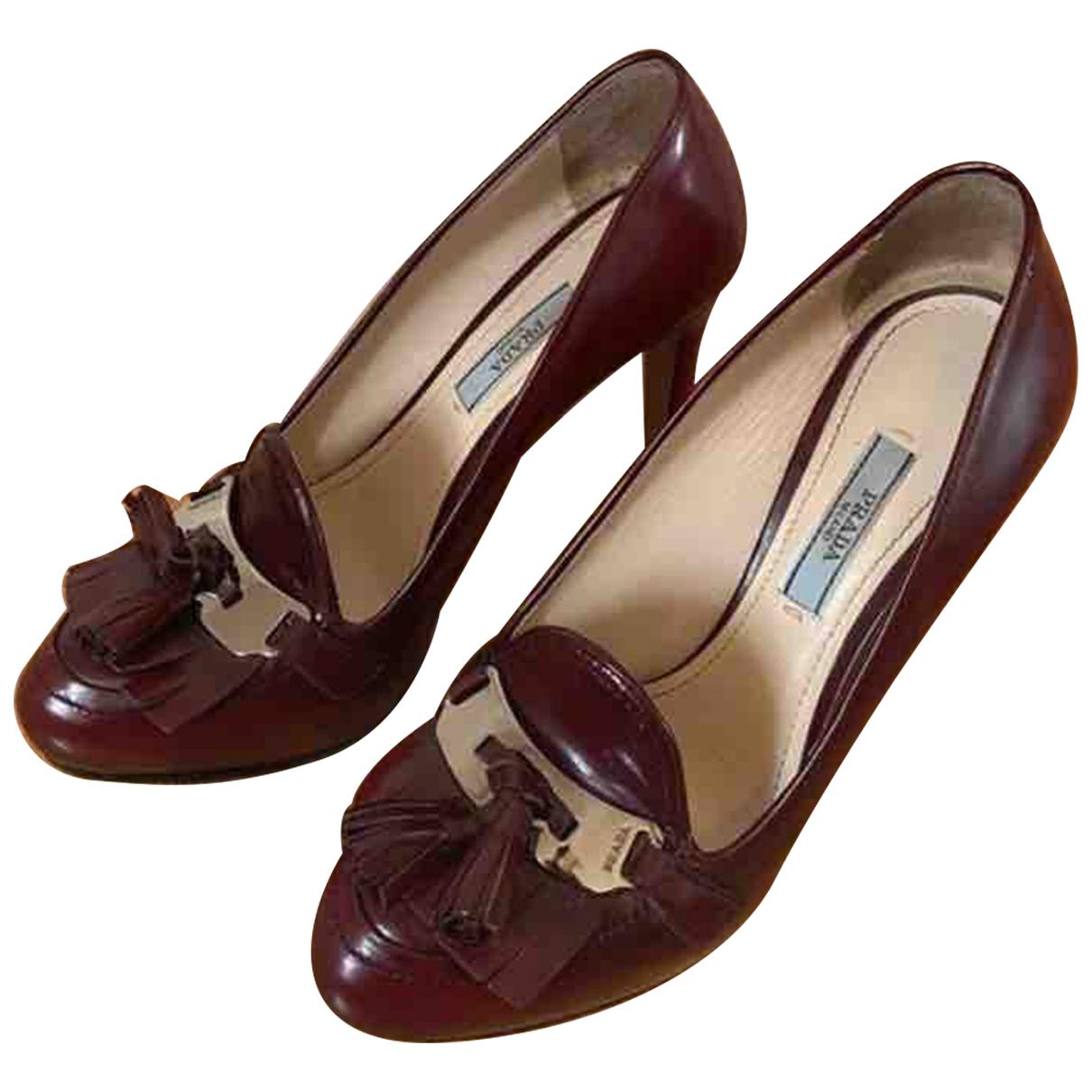 Prada N Burgundy Leather Heels for Women 37.5 EU