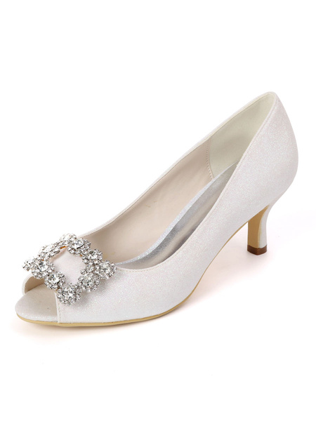 Milanoo Wedding Guest Shoes Champagne Rhinestones Peep Toe Kitten Heel Bridal Shoes Sequin Party Shoes