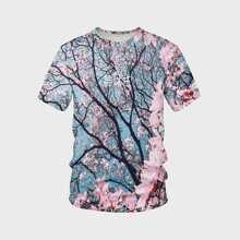 Camiseta de hombres con estampado de sakura 3D