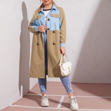 Plus Flap Detail Colorblock Belted Trench Coat