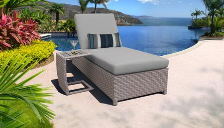 Florence Collection FLORENCE-W-1x-ST-GREY Patio Set with 1 Chaise with Wheels  1 Side Table - 2 Sets of Grey