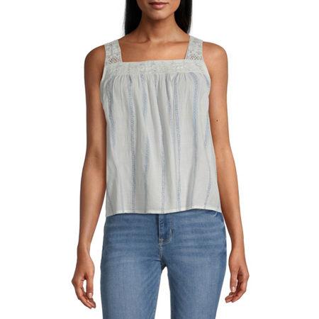Arizona Juniors Womens Square Neck Sleeveless Tank Top, Large , White