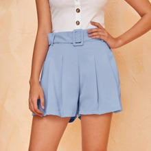 Fold Pleated Buckle Belted Solid Shorts