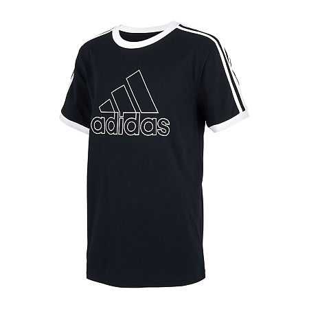 adidas Little Boys Short Sleeve T-Shirt, 4 , Black