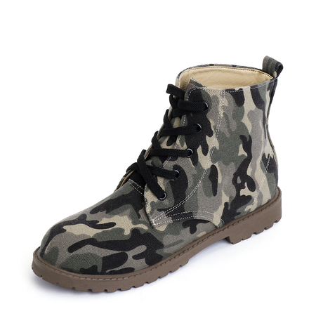 Yoins Camo Casual Round Toe Lace-up Short Boots