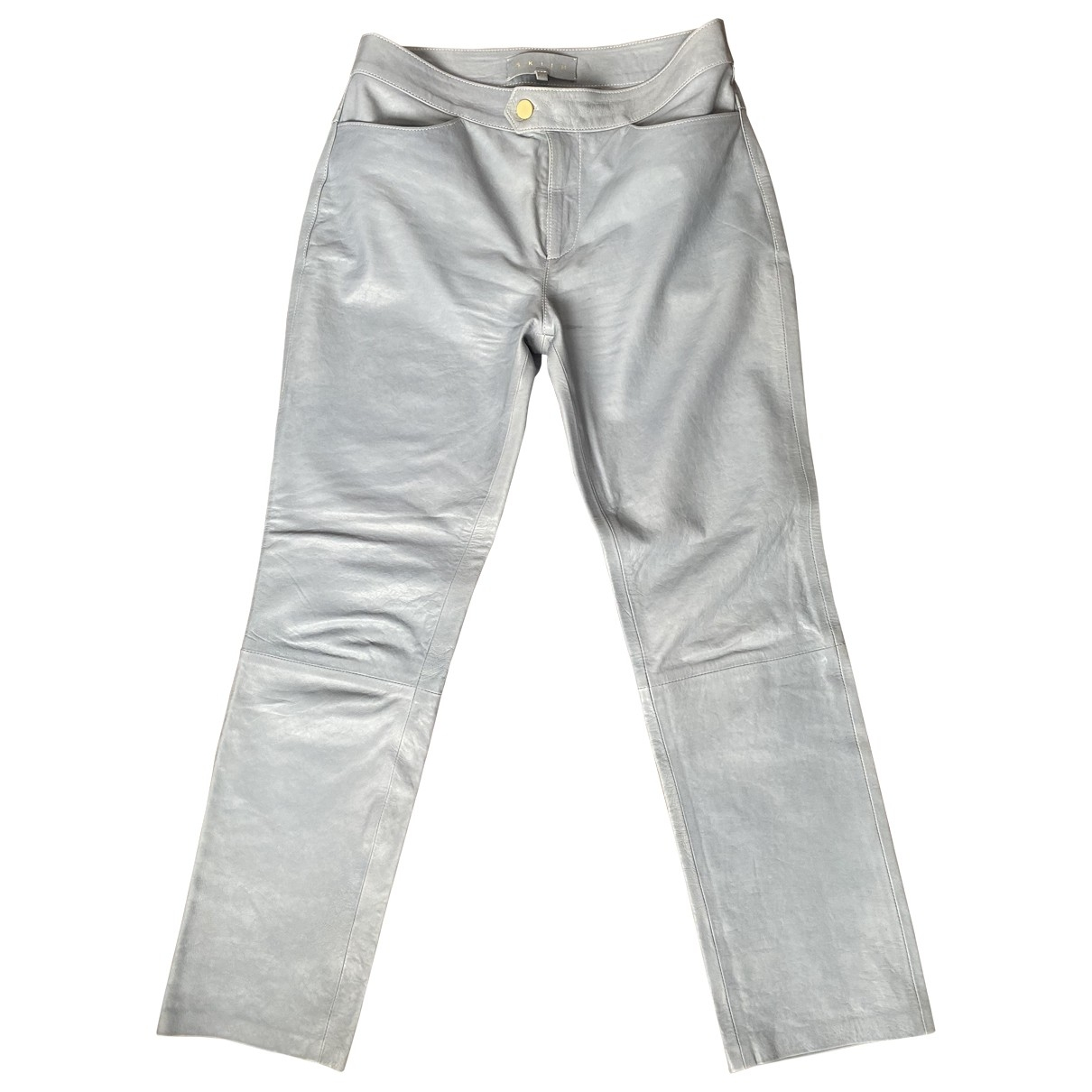 Skiim \N Blue Leather Trousers for Women 38 FR