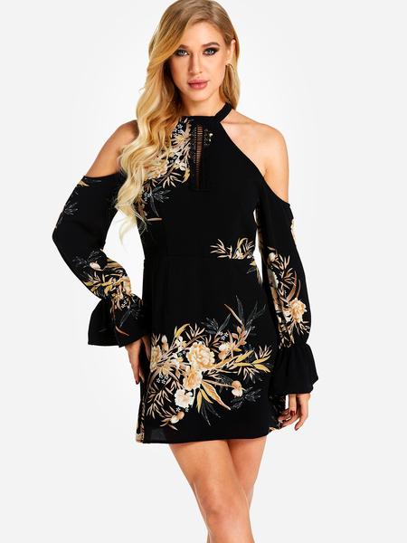 Yoins Black Random Floral Print Cold Shoulder Lantern Sleeves Mini Dress