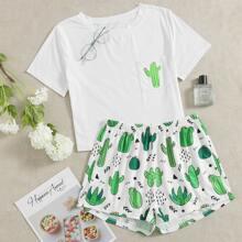 Cactus Pattern Shorts PJ Set