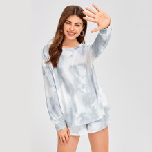 Tie Dye Tee With Knot Shorts