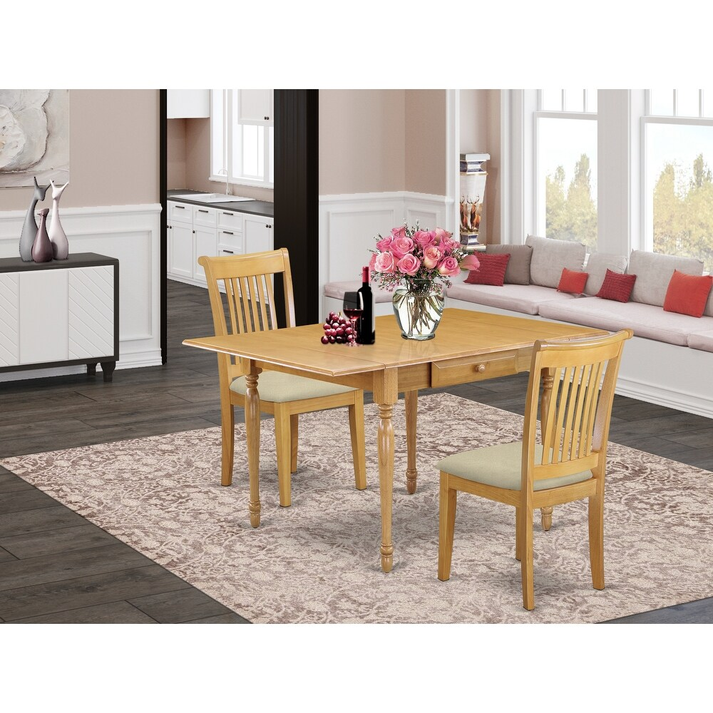 Solid Wood Dining Room Table and Microfiber Upholstery Seat Kitchen Dining Chairs (Number of Chairs Option) (2-Piece Sets)