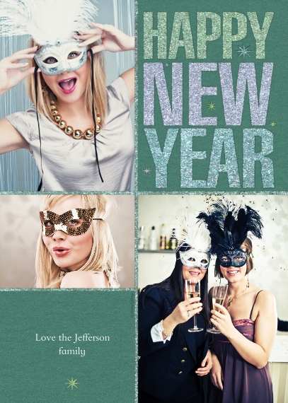 New Year's Photo Cards 5x7 Cards, Premium Cardstock 120lb, Card & Stationery -Happy New Year