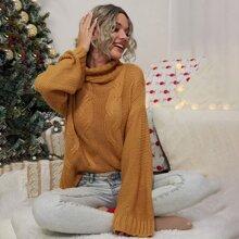 Christmas Drop Shoulder Turtle Neck Sweater