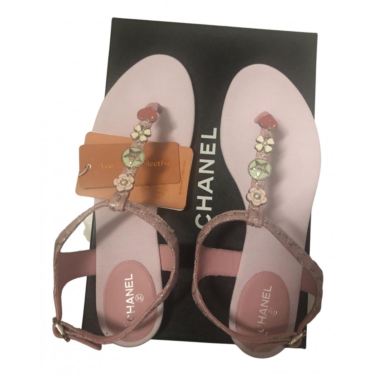 Chanel - Sandales   pour femme en cuir - rose