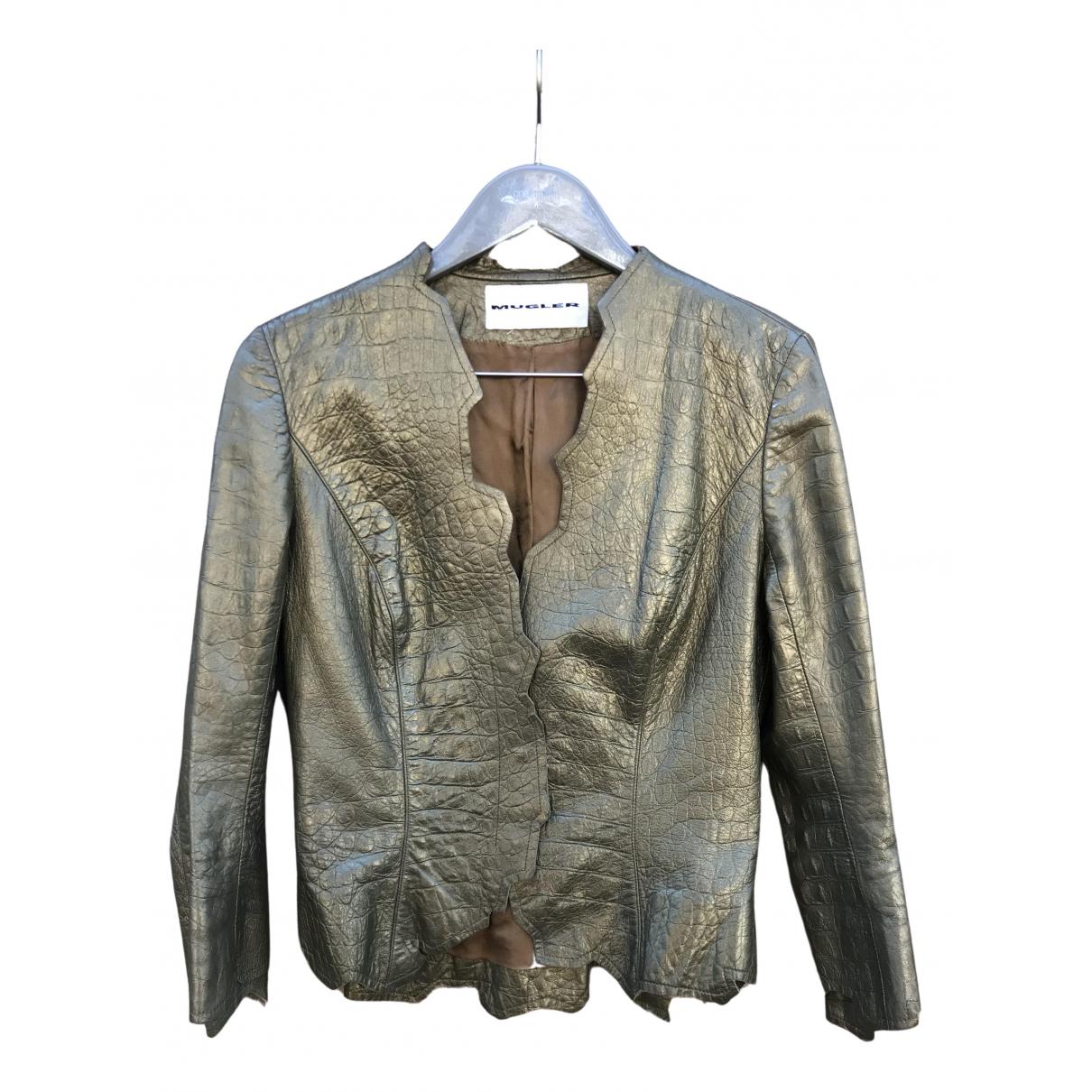 Thierry Mugler - Veste   pour femme en cuir - dore